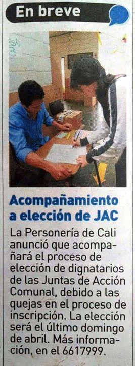 [Prensa - ADN Cali]  La Personería de Cali anunció que acompañará elecciones de Dignatarios de las JAC  VÍA @adncali [Breves]