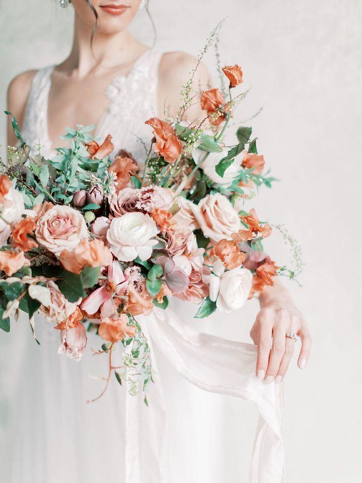 Ramo de novia color rosa y terracota | Ramo de novia con rosas rubor | Bodas de novia …