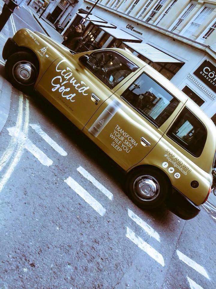 our Liquid Gold cab was spotted roaming around in London! Make sure if you ever see it to take a snap and post it on social media with ‪#‎LiquidGoldCab‬ to WIN an Alpha-H 'With Love' kit xx