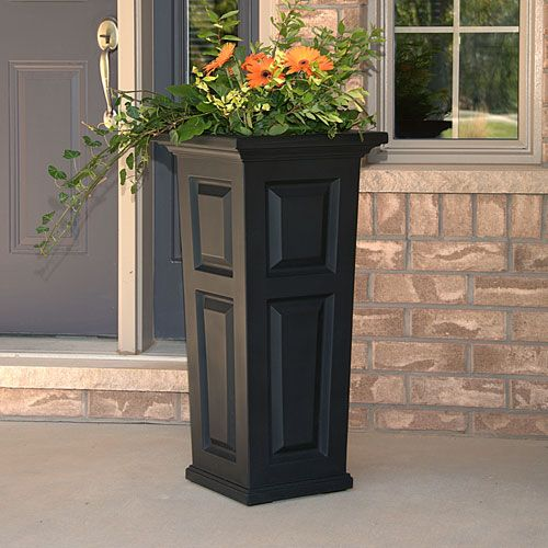 Mayne nantucket black tall planter tall planters for Tall patio doors