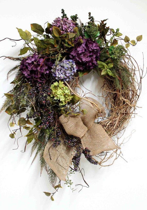 Elegant Country Wreath, Front Door Wreath, Everyday Wreath, Honeysuckle, Burlap Bow, Summer Wreath, Country Decor -- FREE SHIPPING