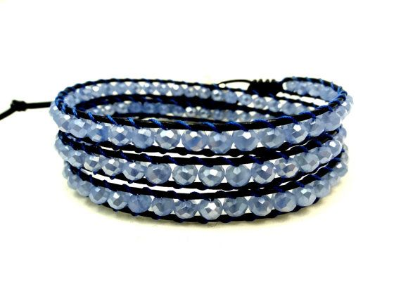 Leather Wrap Bracelet, Blue Crystal Beaded 3 Leather Wrap Bracelet, Triple Wrap Bracelet, Bohemian Bracelet, Boho Wrap