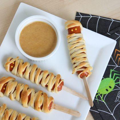 Crescent Mummy Corn Dogs with Homemade BBQ honey mustard