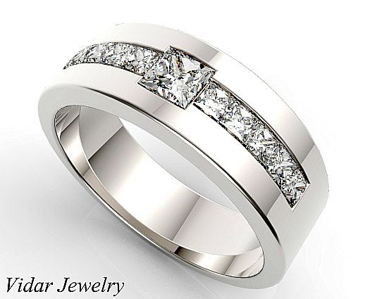 unique wedding band for mendiamond wedding ringdiamond wedding band for a menprincess cut mens ringcustom ring for menswedding ring - Man Wedding Rings