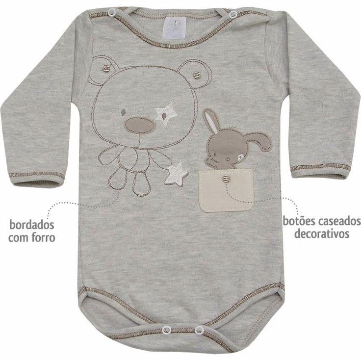 Body Masculino para Bebê Ursinho Mescla - Patimini :: 764 Kids | Roupa bebê e infantil