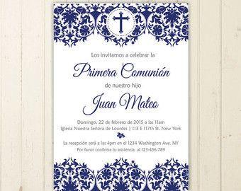 comunion invitacion niño celeste imprimible por RebeccaDesigns22