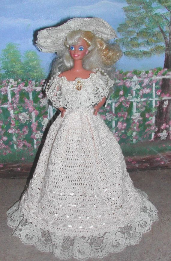 Crochet Fashion Doll Barbie Pattern- #391 TEA GOWN from LONDON