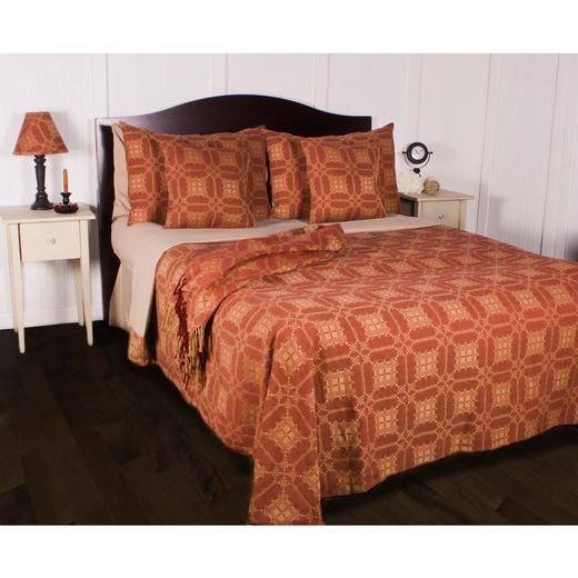 Smithfield Jacquard King Bed Cover - Red - 640970739007