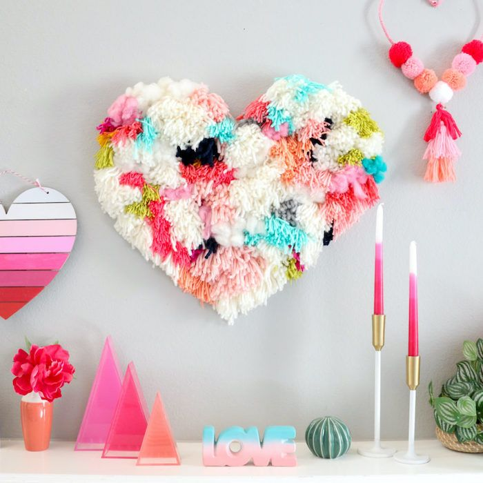 Google Image Result For Https Archzine Com Wp Content Uploads 2020 01 Large Heart Made Of Pom Poms Hanging On In 2020 Diy Crafts For Adults Valentines Diy Diy Crafts