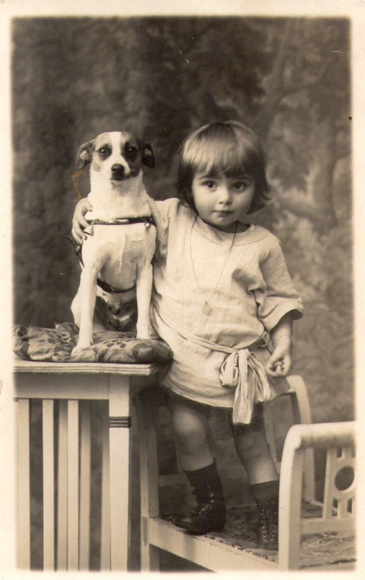 Edwardian child and Jack Russell: