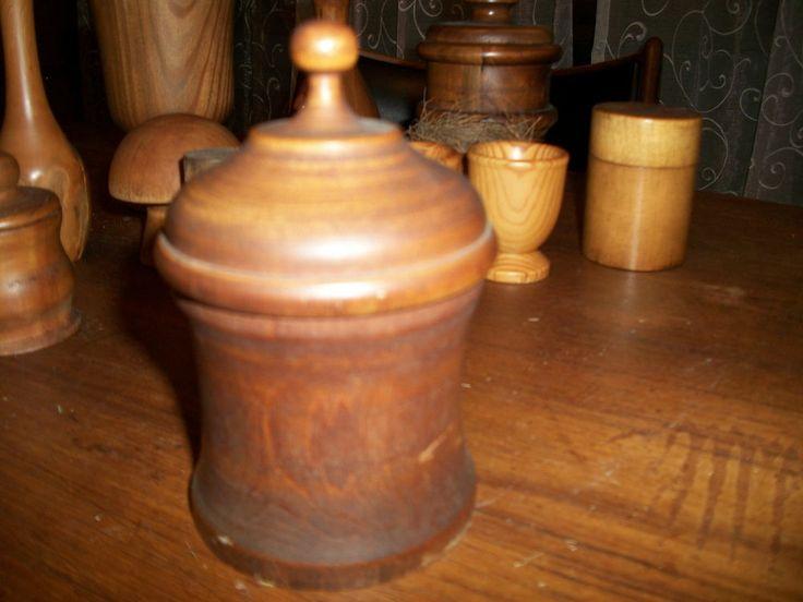Beautiful 19c Antique Turned Wood Tobacco or Apothecary Jar Treen Fruitwood AAFA