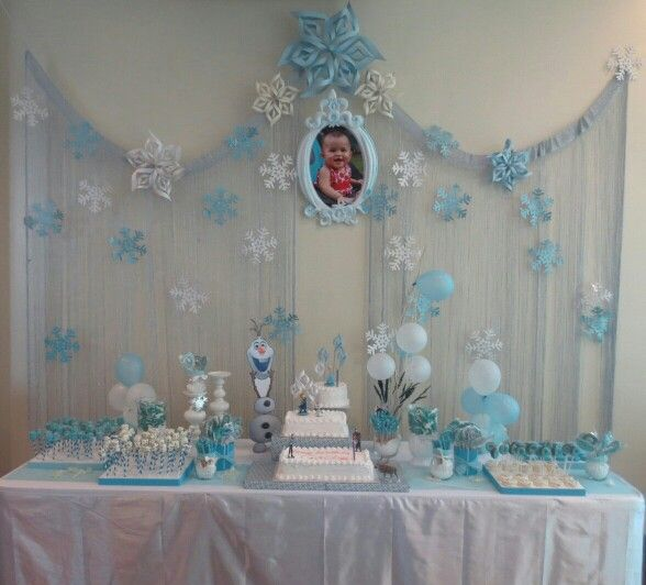 My version of Frozen themed desert table for my god daughter's 1st birthday!