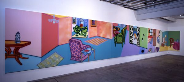 Howard Arkley, Fabricated rooms, 1999, synthetic polymer paint on 17 canvasses, 203 x 1930 overall