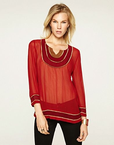 Goa Colorblocked Tunic in Russian Red Multi - Lucky Brand Jeans