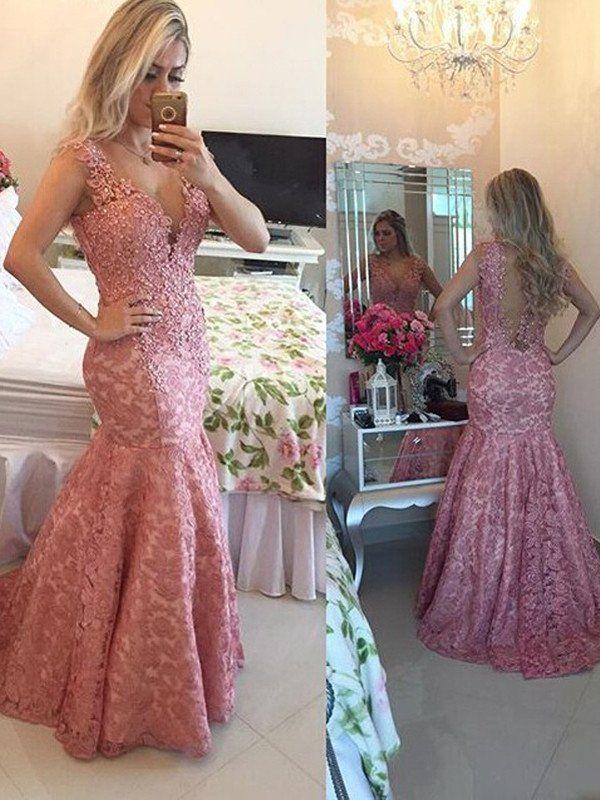 prom dresses plus size, Trumpet Mermaid V-neck Floor-length Tulle Prom Dress Evening Dress MK124
