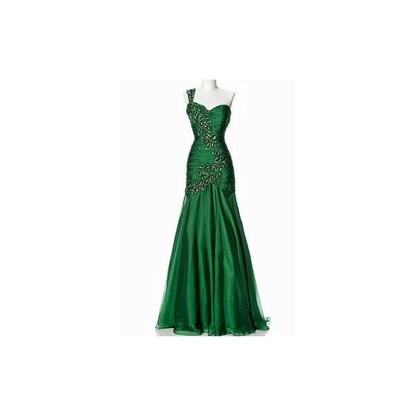 Emerald Green Formal Dress, Green Evening Dress, Chiffon Formal Dress,... ($370) ❤ liked on Polyvore featuring dresses, gowns, long dresses, green, emerald green gown, emerald green prom dress, emerald green ball gown, emerald green evening dress and long prom dresses
