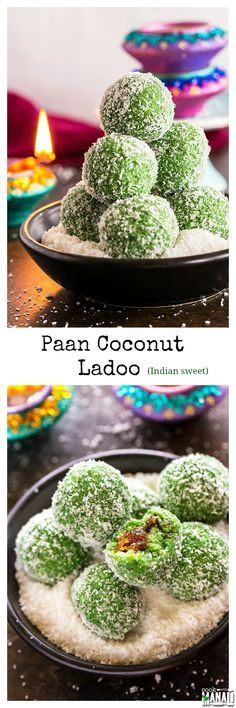 Instant Paan Coconut Ladoo, filled with gulkand is an easy Indian sweet for Diwali! You need only 15 minutes to make these! Find the recipe on www.cookwithmanali.com