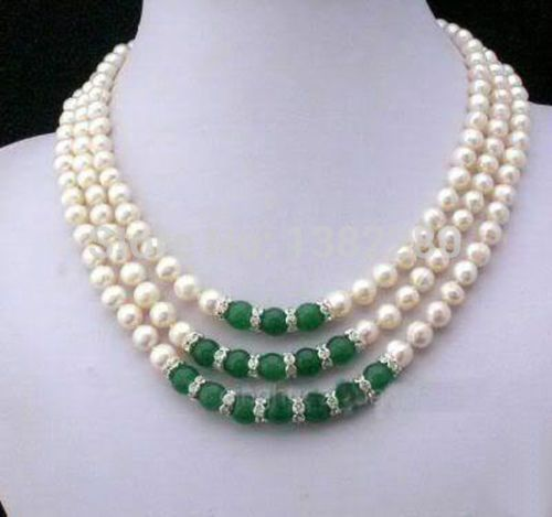 Free shipping!   Wholesale  Jewelry freshwater pearl and jade necklace 2 piece/lot fashion jewelry JT5623