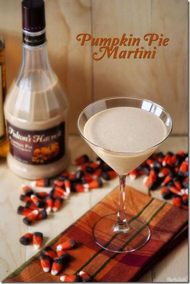 Pumpkin Pie Martini ~ *** INGREDIENTS *** 2 oz spiced rum 4 oz Fulton's Harvest Pumpkin Pie Cream Liquor 2 oz (or spoonfuls) pumpkin pie leftovers. Dash of pumpkin pie spice.   Crushed graham crackers for garnish if desired   *** INSTRUCTIONS *** In a drink shaker, combine rum through pie spice with ice and shake vigorously. Strain into martini glasses lined with graham cracker crumbs. Enjoy! ~