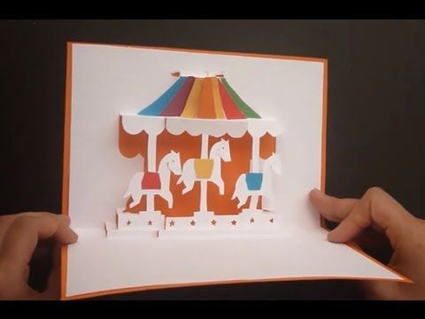 merry go carousel pop up card tutorial origamic