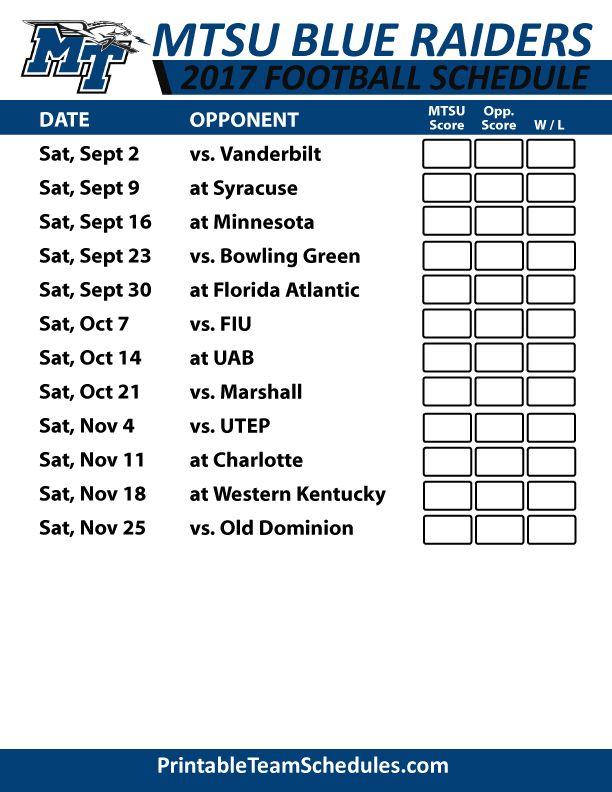 2017 MTSU Blue Raiders Football Schedule