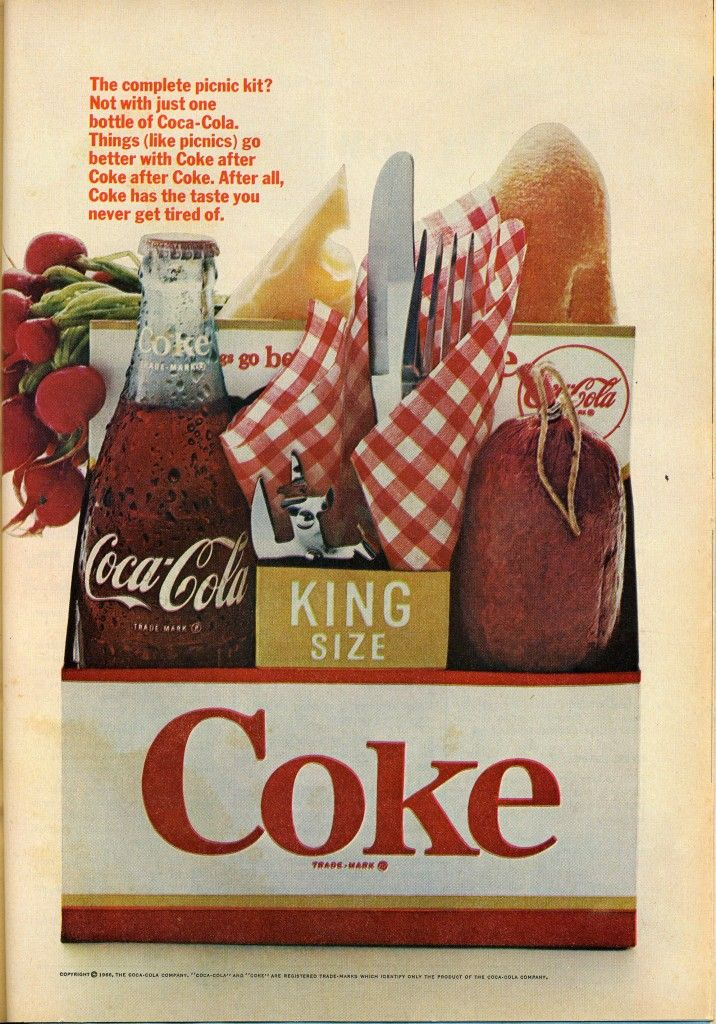Summer #coke ad 1966 checked napkin