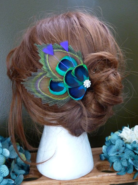 Peacock feather hair clips