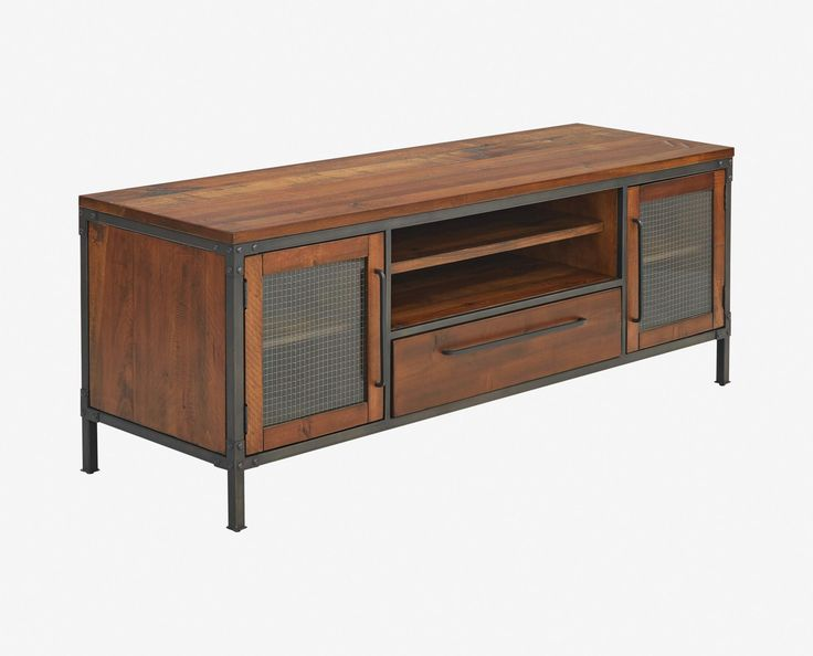 Scandinavian Designs - Update your home entertainment area with the Insigna media stand. The mix of rustic and industrial elements offer high style as well as ample storage space with open shelves, one felt-lined drawer and two wire-front cabinets.
