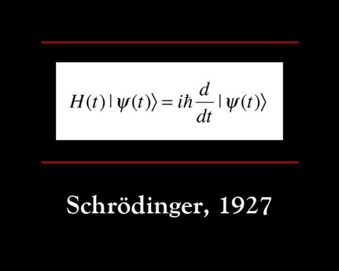 """Ecuación de Schrödinger  En el puesto nº 14 de las 17 ecuaciones que han cambiado la historia se encuentra la """"Ecuación de Schrodinger"""". Formulada en 1927 por Erwin Schrödinger, describe la evolución temporal de una partícula masiva no relativista. Así, el espacio no está vacío y cuando una partícula lo atraviesa, la deforma, y el espacio también genera una forma de onda por esta perturbación. La ecuación representa la probabilidad de que en un tiempo determinado se encuentre allí la…"""