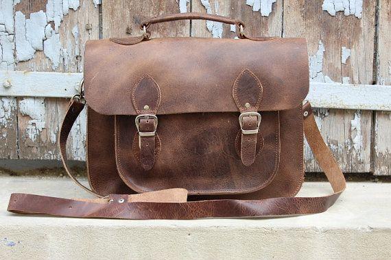 Leather messenger bag  /xmas gift by EATHINI on Etsy