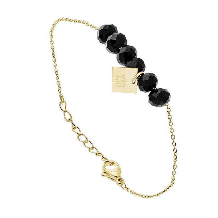Bracelet Dragée noir (doré jaune) - Bijoux Fantaisie Créateurs