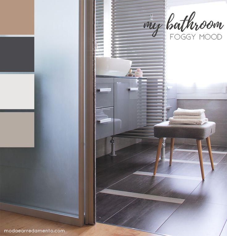 Bathroom palette nei colori del grigio.