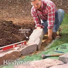 Family Handyman - Garden Bed Edging Tips.  Stone wall border for a raised bed.  Good drainage - a solution for boggy gardens.  OR - create flat, terraced gardens on a sloped yard.  For lawn edging limit the height to 2 courses so nothing falls.  Plan on $10 / linear foot of edging.