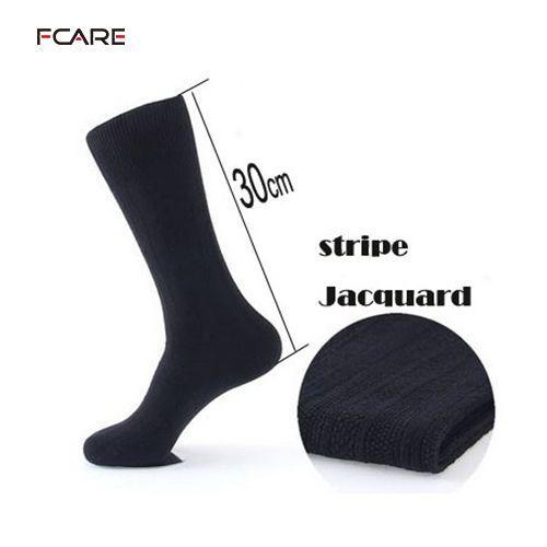 6PCS=3 pairs plus size double needle 43, 44,  45, 46 men dress business socks long leg calzini lunghi uomo black elite socks