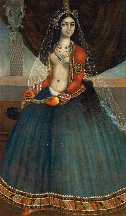 Harem Beauty - with henna dyed hands; a european-like crinoline skirt ; Iranian court attire: under an open short jacket, a transparent silk blouse. Between shirt and skirt we can see the woman's naked body. Iran, Mid-19th century, Qajar Dynasty oil and glue colors.