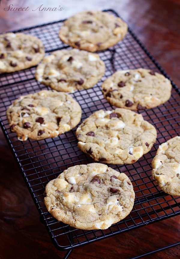 gooey marshmallow chocolate chip cookies - Okay, these aren't perfect. The marshmallow melts completely while cooking and disappears into the cookie. Further testing to come...they were delicious though!