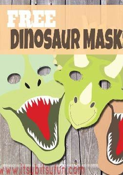 Have fun with your kids with these free printable dinosaur masks! A fun and easy kid's craft.