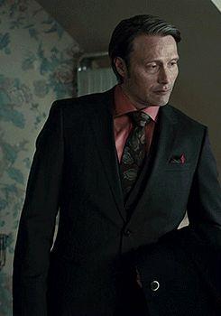 Mads & Hannibal — loveholic198: 15/∞ - black suit + salmon shirt