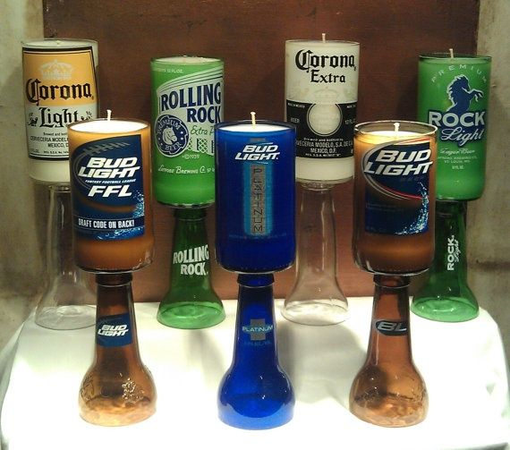 Beer Bottle Candle    Cool for an outdoor bar patio