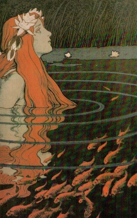 """Mermaid in a Pool with Goldfish""  Franz Hein, 1904 - color lithograph"