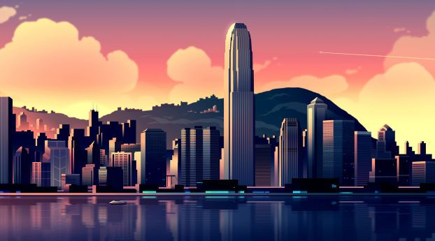 Download 16bit Cityscape And Lake Full Hd Full High Resolution 3840x2400 Wallpaper Images Photos And Pictures Free Building Illustration Cityscape Skyscraper