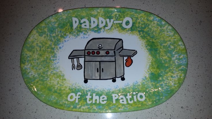 Painted Ceramic BBQ Platter - The platter I  made for Dad's Birthday 2014