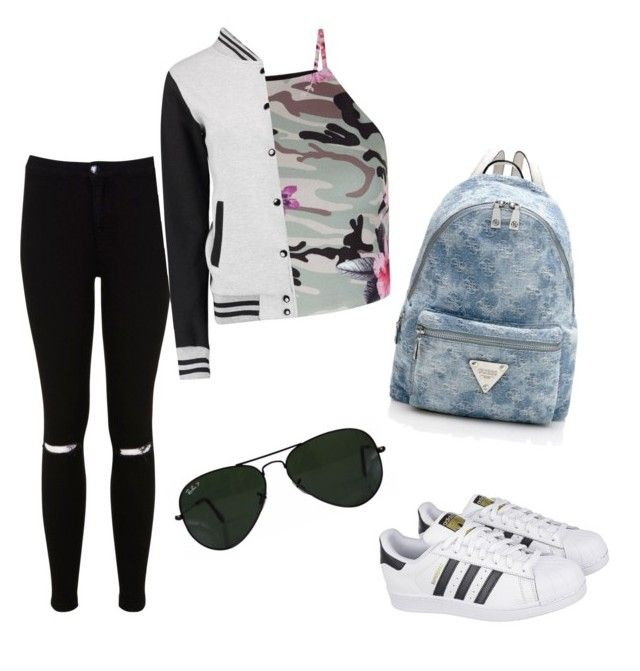 ♡ by lidiasalazar on Polyvore featuring polyvore fashion style New Look Miss Selfridge Ray-Ban adidas clothing
