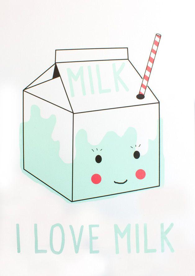 Siebdruck - I LOVE MILK Siebdruck A3 Illustration Milch Tüte - ein Designerstück von Morkebla bei DaWanda