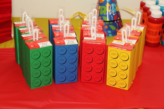 Themed drinks at a LEGO party! See more party ideas at CatchMyParty.com!  #partyideas #lego