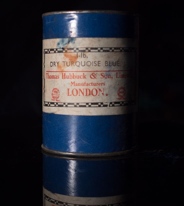 Turquoise Blue dry powder pigment from Thomas Hubbuck and Son. Unopened