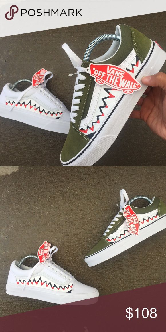 Custom BAPE Vans A pair of custom Olive vans size 7 in men's and a 8.5 in women's brand new never worn Vans Shoes