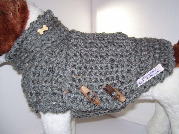 Small Dog Sweater Grey Dog Sweater Small por CTDESIGNSBESPOKEBAGS
