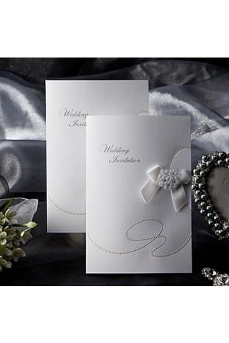 Elegant Style Folded Wedding Invitation With Ribbon Bow (50/Set) | LynnBridal.com