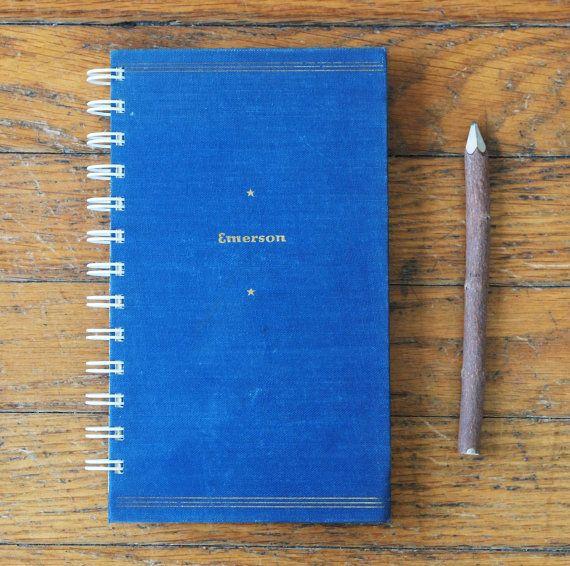 Emerson journal literature notebook poetry by blackbirdandpeacock, $20.00